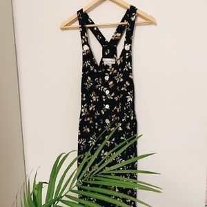 Vintage button down neutral  floral midi dress